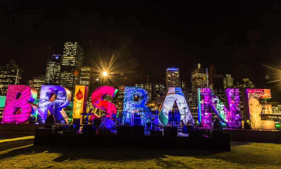 The colourful new 'Brisbane' sign in the city's Cultural Forecourt.
