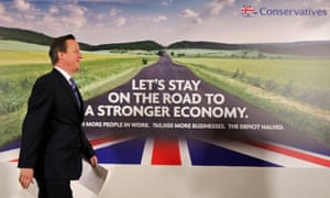 Prime Minister David Cameron launches the conservative party's first election campaign poster.