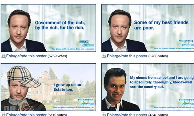 Photoshopped David Cameron posters