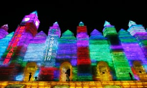 Ice sculptures illuminated by coloured lights