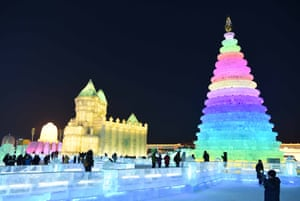 Tourists visit the Ice and Snow World