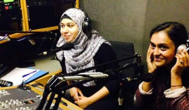 Naima Khan (left) and Fatima Rajina (right), hosting Shamaj Views on Betar Bangla Radio.