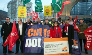 Green party members joined campaigners from the RMT for a protest outside King's Cross station on Monday.