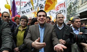 Greek Syriza party leader Alexis Tsipras during a demonstration in Athens