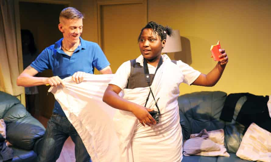 Lee Oakes (Dr Feelgood) and Susan Wokoma (Tanika)  in Three Birds by Janice Okoh at the Bush Theatre in 2013.
