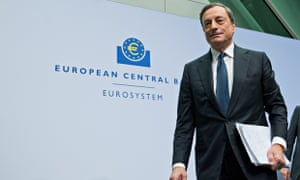 Mario Draghi after a press conference at the European Central Bank