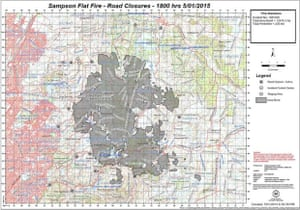 Cfs mapping of the Sampson Flat fire, which had burned through 12,446 hectares as of 6pm on Monday.