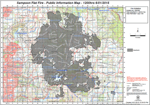 The Sampson Flat fire has burned 12,516 hectares in five days, according to the latest map released by CFS.