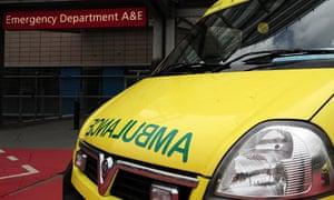 An ambulance outside an A&E department.