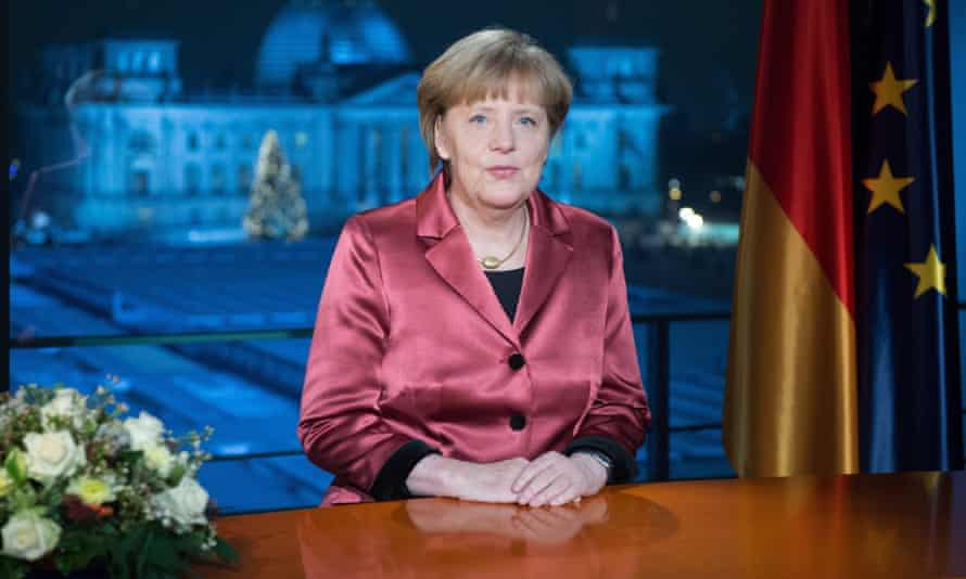 Angela Merkel makes her new year speech at the chancellery in Berlin.