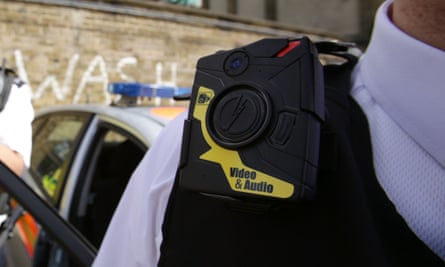 Police officer wears body-worn video (BWV) camera, ahead of a year-long pilot scheme by the Metropolitan police.