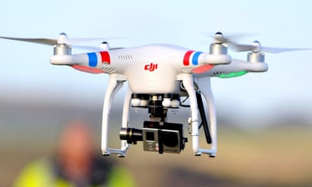 A remote-controlled drone with camera equipment.