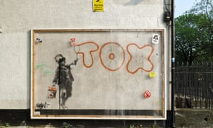 Banksy's now Perspex-covered ode to fellow graffiti artist Tox on Jeffreys Street, London.