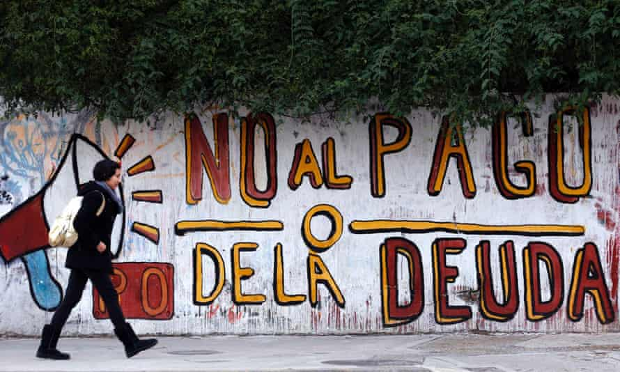 "Graffiti that reads ""No to the debt payment"" in Buenos Aires on 28 July 2014"