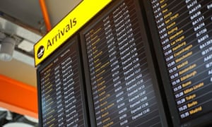 Airport arrivals board