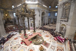 Pope Francis leads a mass in St. Peter's Basilica, at the Vatican, to mark Epiphany