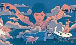 Art illustration of woman controlling dreams