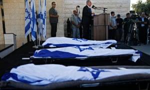 The funerals of Eyal Yifrach, Naftali Frankel, and Gil-ad Sha'er