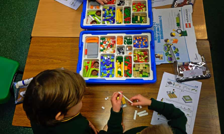 A year 1 maths class using Lego at Birchfield school.
