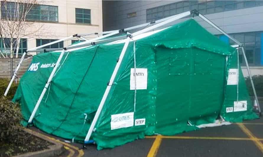 An emergency NHS tent erected outside Great Western hospital in Swindon.