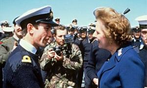 Margaret Thatcher visiting the Falkland Islands.