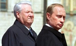 Boris Yeltsin and Vladimir Putin at the ceremony marking Putin's inauguration as president in May 2000. EPA