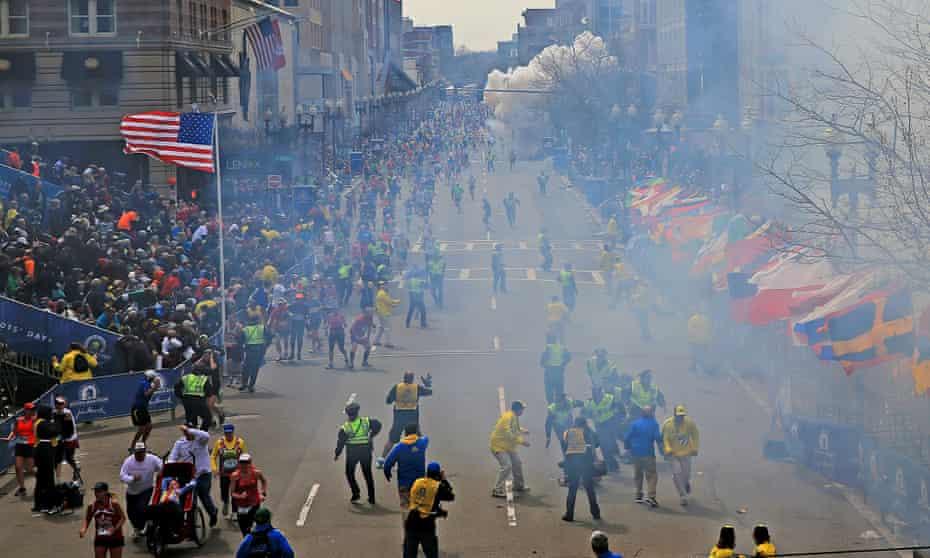 A bomb explodes near the finish line of the 2013 Boston Marathon.