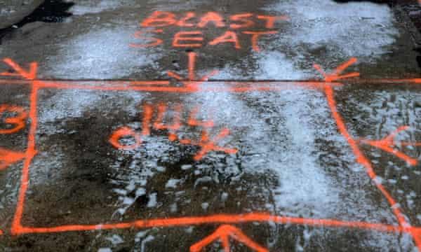 The outlined 'blast seat' on the sidewalk of Boylston Street, Boston.