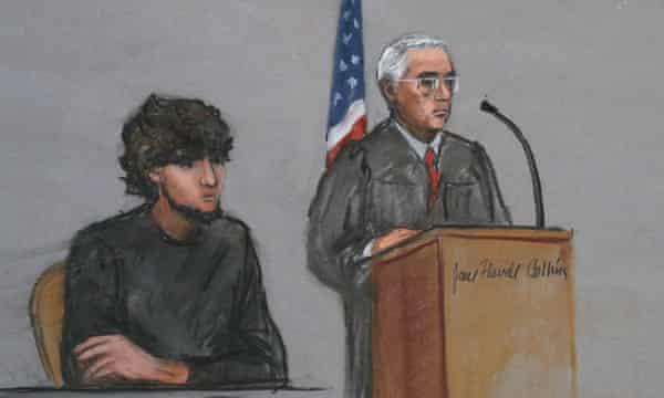 Defendant Dzhokhar Tsarnaev, left, is depicted at the start of jury selection.