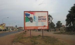 A billboard celebrating Yahya Jammeh's birthday in Banjul, December 2014.