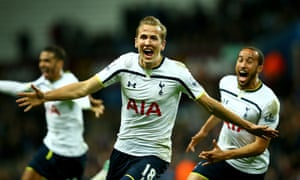 Harry Kane of Spurs celebrates scoring their second goal during the Barclays Premier League match between Aston Villa and Tottenham Hotspur at Villa Park on November 2, 2014