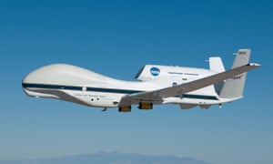 The Ghost instrument is secured in the belly of a Nasa Global Hawk Unmanned Aerial vehicle.
