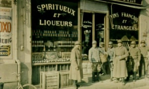 French infantrymen outside a wine shop, 1916.