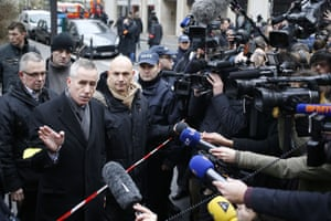 Francois Molins, Paris' prosecutor talks to the press outside the Charlie Hebdo offices