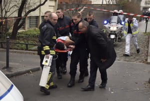 A victim is evacuated on a stretcher