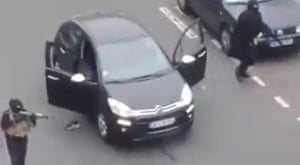From a video circulating on Facebook and YouTube of a graphic nature, showing two of the gunmen attacking on a sidewalk near the Charlie Hebdo offices