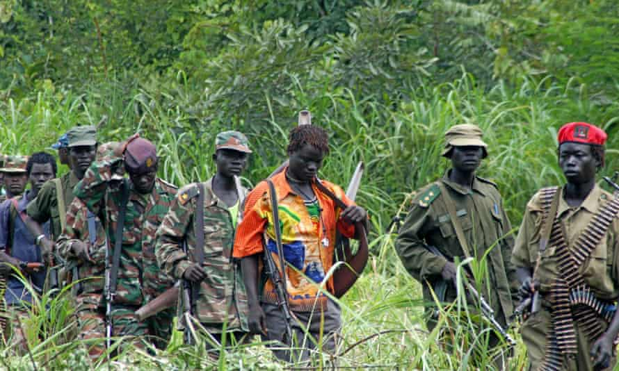 Members of Uganda's Lord's Resistance Army in the Democratic Republic of the Congo near the Sudanese border. AP