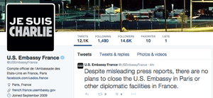 US embassy in France shows support.