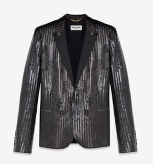 Saint Laurent Classic Single Breasted Jacket in Black Sequins and Satin