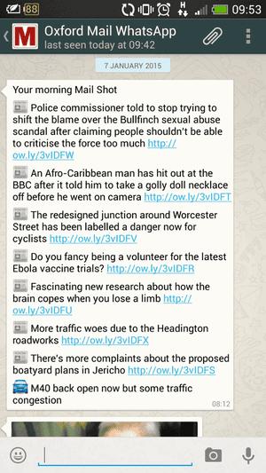 Oxford Mail WhatsApp screenshot