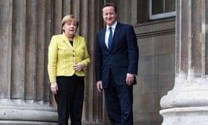 David Cameron and Angela Merkel at the British Museum in London on 7 January 2015.