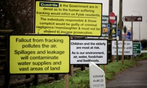 Signs adjacent to a proposed fracking site in Little Plumpton where a protest camp was set up in the summer, 17 December 2014.