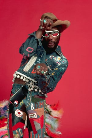 George Clinton poses for a studio in funky cowboy gear in 1977