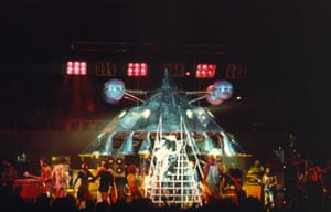 George Clinton descends from The Mothership during their gig at the LA Coliseum in in 1977