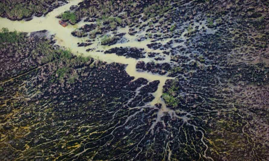 The impact of oil pollution in the Niger Delta's creeks seen from the air