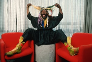 George Clinton shows off his hair extensions in Hollywood, 1993