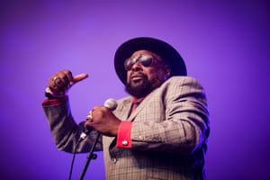 George Clinton with his P-Funk all star band play at the Vanguard Festival in Denmark in August 2014.
