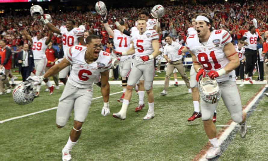 The Ohio State Buckeyes react after winning the 2015 Sugar Bowl.