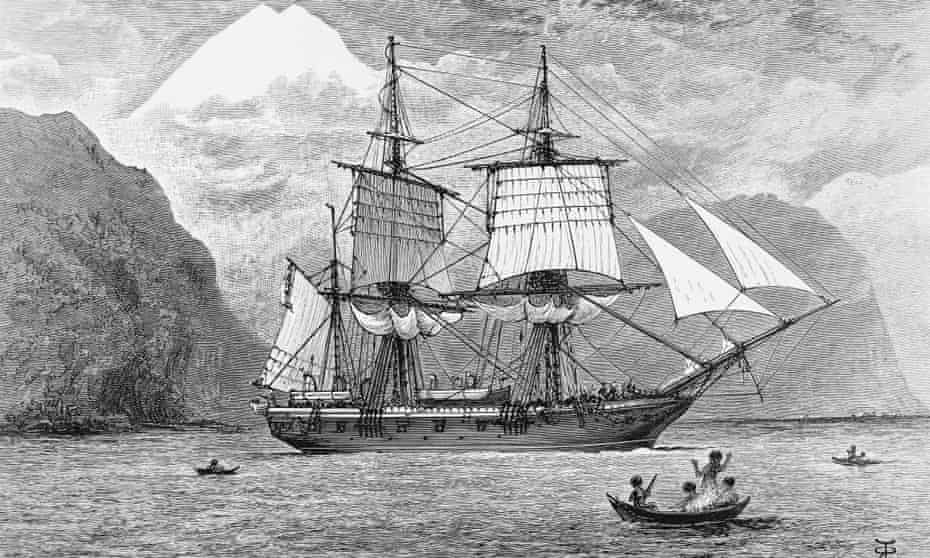 The Beagle carrying Charles Darwin's expedition, depicted in the the Straits of Magellan, bordering Tierra del Fuego.