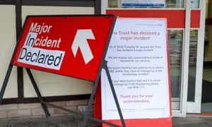 Notice posted outside the entrance to A&E at Addenbrooke's, which has been forced to cancel operations.